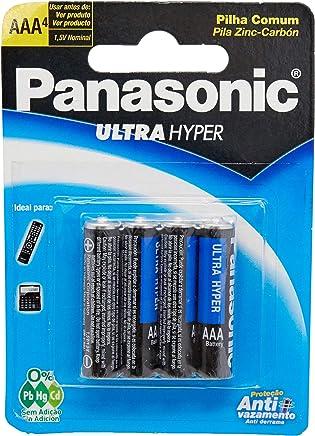 Pilha Comum Palito Cartela com 4 Unidades, Panasonic 3020036, Cinza