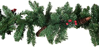 Clever Creations Christmas Tree Branch Garland Festive Holiday Decor | Realistic Pine Branches with Pine Cones and Red Holly Berries | Posebale | Realistic Look| 9' Long