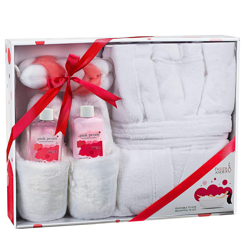 Home Spa Gift Basket Luxury Bathrobe & Slipper Spa Box for Women - Pink Peony Scent - Luxury Bath & Body Set For Women - Body Lotion, Shower Gel, Puff, Ultra Soft Full Length Bathrobe, Plush Slippers