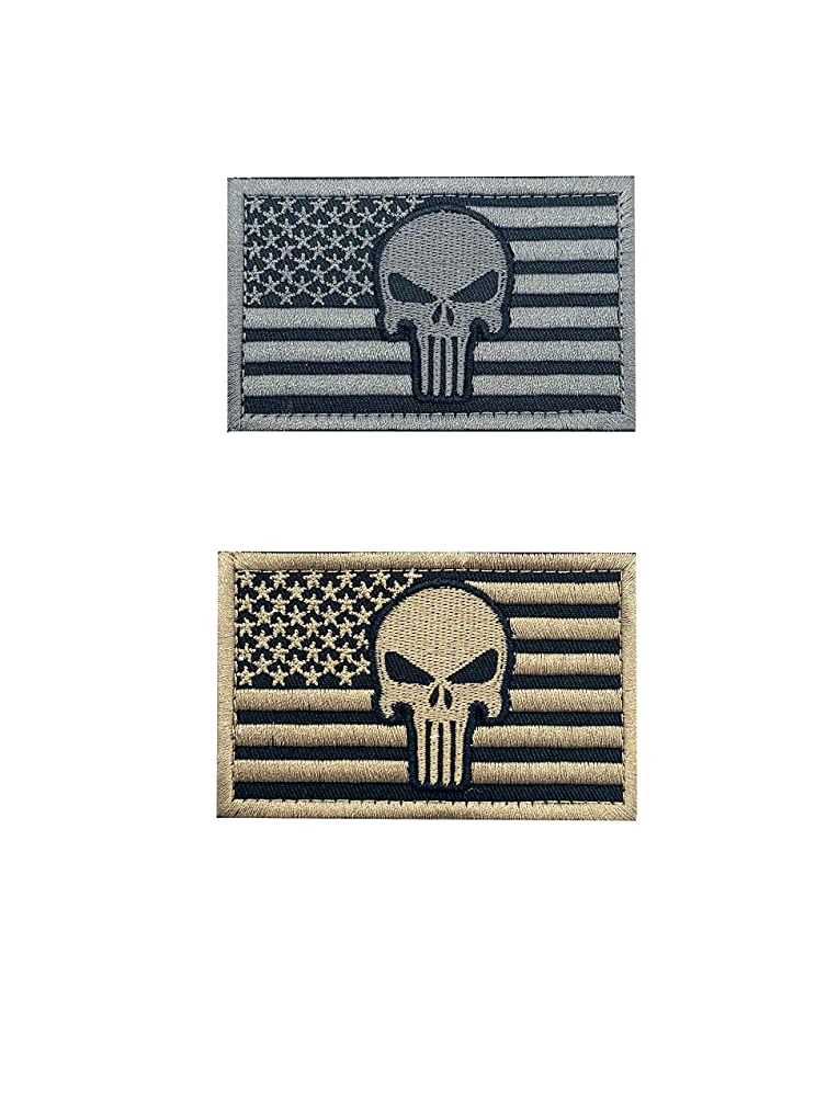 2 Pieces Punisher American Flag Patch Military Patch/Morale Patches