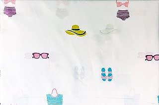 Alex & Zoe Bedding 4 Piece Queen Size Microfiber Bed Sheet Set Bathing Swim Suits Sun Hats Sunglasses Sandals Beach Bags