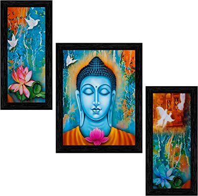 Indianara Set of 3 Gautam Buddha Framed Painting (3488BK) without glass 6 X 13, 10.2 X 13, 6 X 13 INCH