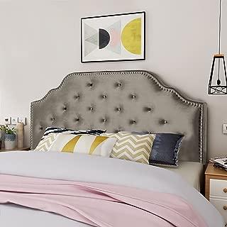 Christopher Knight Home Silas Velvet Queen/Full Headboard, Grey + Black