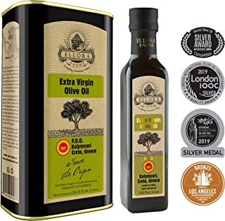 Ellora Farms | Single Origin & Single Estate | Cold Press & Traceable Olive Oil | Harvested in Ancient Crete, Greece | 33.8 oz Tin and 8.45 oz Bottle Combo