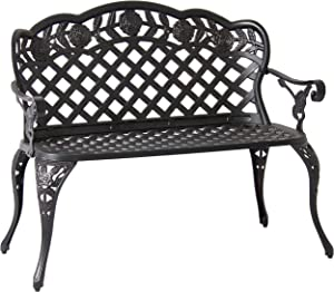 Best Choice Products Patio Garden Bench Cast Aluminum Outdoor Garden Yard Solid Construction New - Bronze