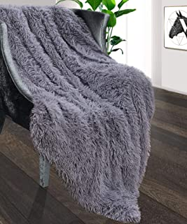 Foxmas Soft Faux Fur Throw Blanket, Shag Bed Throw Blanket Fuzzy Long Hair Blanket for Girl Kid Room, Warm Cozy Plush Sherpa Fleece Blanket for Couch Sofa Bed Chair, 60'' x 80'', Grey
