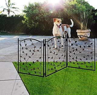 "Lexi Home Folding Pet gate Leaf Design – Retractable Dog Gate – 50"" Dog Gates Indoor Outdoor – Wide Pet Gate"