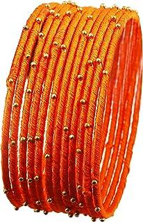 """جديد! Touchstone """"Silk Thread Bangle Collection"""" Indian Bollywood مصنوع يدويًا من الحرير الصناعي بمظهر غريب خرز ذهبي الجزر..."""
