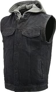 Men's Denim Club Style Vest   Removable Hoodie, Concealed Gun Pockets, Patches Friendly Single Panel Back   Rustic and Casual Black Jean Biker Vest (Black, 5X-Large)