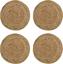 Elrene Home Fashions Everyday Casual Braided Jute Round Placemat Set of 4, 15