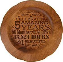 LifeSong Milestones Personalized 5th Wedding Anniversary Plate Gift for Couple Fifth Year Gift Ideas for Her him Happy 5 Year 12