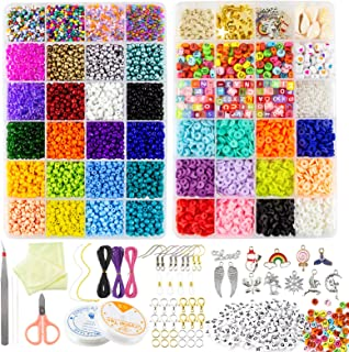 AKILION Beads for Jewellery Making Kit Includes 5500 Pcs Glass Seed Beads 2400 Pcs Flat Clay Beads 820 Pcs Alphabet Beads ...