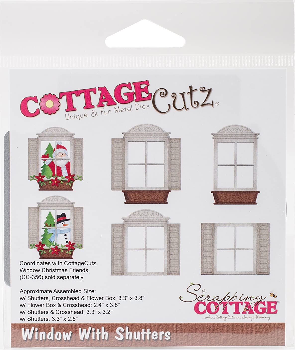 CottageCutz CC-357 Dies-Window W/Shutters 2.4 inches to 3.8 inches