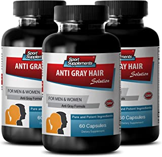 Restore hair growth - ANTI GRAY HAIR NATURAL FORMULA for Men and Women - Folic acid supplement for women, Fo ti powder, Chlorophyll - 3 Bottles 180 Capsules