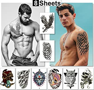Temporary Tattoos For Men Guys Boys & Teens (8 Large Sheets) - Fake Tattoos Stickers For Arms Shoulders Chest Back & Legs Eagle Koi Fish Skull Gun Owl Tattoo Realistic Waterproof Tattoos Black