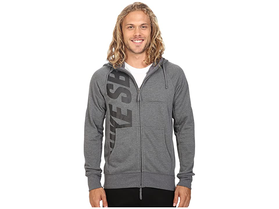 Nike SB SB Lightweight Everett Dri-FIT Full Zip Hoodie (Charcoal Heather/Black) Men