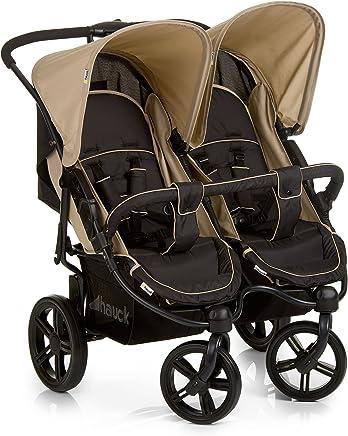 Hauck Roadster Duo SLX - Silla gemelar para gemelos y hermanos de 0 meses hasta 15 kg, con barrera de seguridad,  Multicolor (Caviar/Almond)