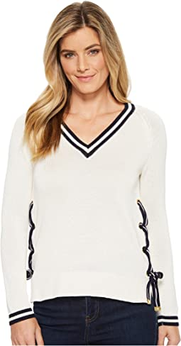 LAUREN Ralph Lauren - Two-Tone Lace-Up Sweater