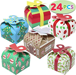 24 Pieces 3D Christmas Goody Gift Boxes with Bow for Holiday Xmas Goodie Paper Boxes, School Classroom Party Favor Supplies, Candy Treat Cardboard Cookie Boxes.