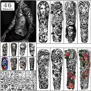 Metuu 46 vellen grote volledige arm tijdelijke tatoeages voor mannen, draak klok bloem skelet schorpioen halve arm waterdi...