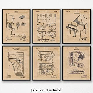 Original Piano Patent Poster Prints, Set of 6 (Six 8x10) Unframed Photos, Great Wall Art Decor Gifts Under 20 for Home, Office, Garage, Man Cave, Student, Teacher, Pianist, Symphony & Music Fan