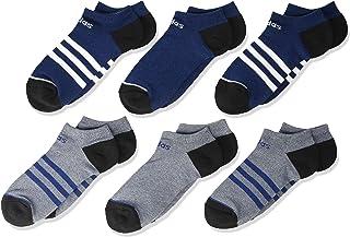 adidas, Calcetines deportivos unisex para niños y jóvenes, 3 rayas, paquete de 6, Unisex, 5149464B, Tech Indigo Blue - Tinta para leyenda, color azul y blanco y negro, Medium, (Shoe Size 13C-4Y)