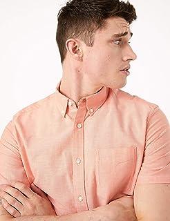 Marks & Spencer Men's S/S Oxford Shirt, Small, Peach