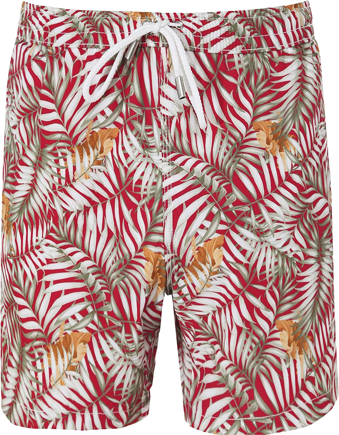 Hartford Men's Palm Print Swim Shorts Red