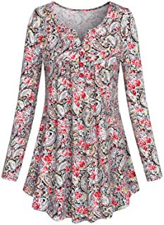 SeSe Code Women's Crewneck Long Sleeve Floral Shirts Flared Casual Tunic Tops(FBA)