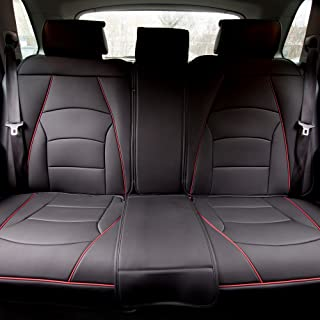 FH Group PU205013BLACKREDTRIM Bench PU205BLACKREDTRIM013 Ultra Comfort Leatherette Rear Seat Cushions Black with Red Trim
