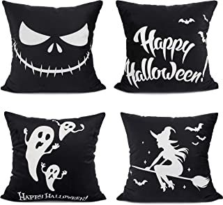 YOUR SMILE Pack of 4 Halloween Fluorescen Design Decorative Throw Pillow Case Cushion Covers for Sofa Home Decor 18 x 18 inch,Ghost/Witch/Bat