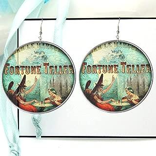 Psychic Fortune Teller Picture Hoop Earrings, Vintage Advertisement Art Jewelry, X Large Reverse Dangle or Drop Photo Hoops