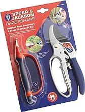 Spear & Jackson CUTTINGSET1 Razorsharp Ratchet Anvil Pruners & 6-in-1 Blade Maintenance Tool, Red, Blue & Silver