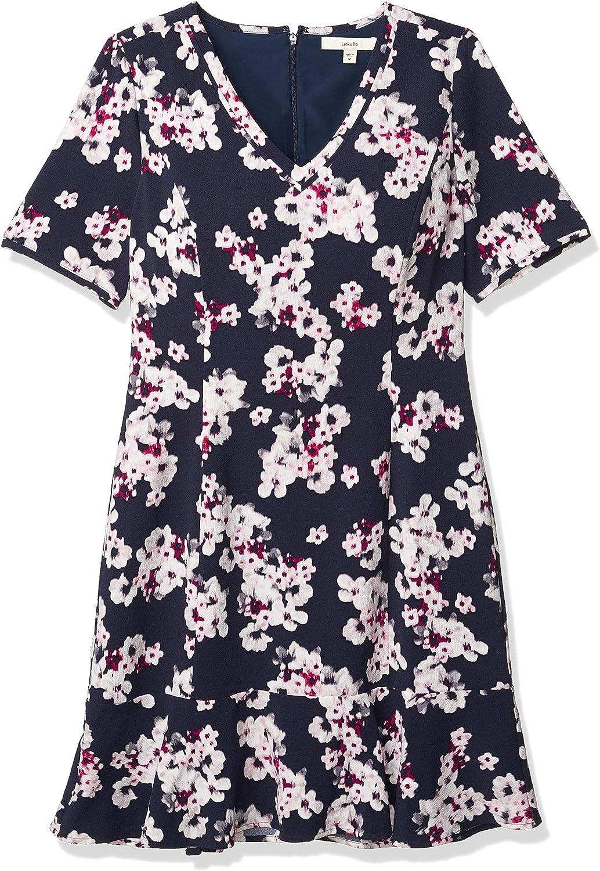 Amazon Brand - Lark & Ro Women's Short Sleeve A-line Peplum Dress with Belt