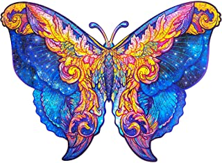 Unidragon Wooden Puzzle Jigsaw, Best  Adults and Kids, Unique Shape Jigsaw Pieces Intergalaxy Butterfly, 16.1 x 11.8 inche...