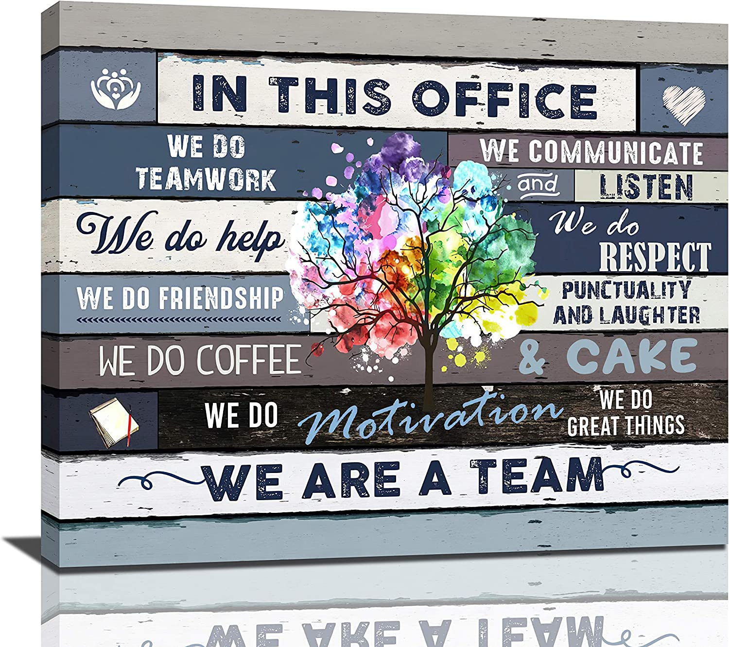 Inspirational Wall Art For Office Motivational Quotes Wall Decor We Are A Team Framed Canvas Wall Art Modern Office Wall Decor Office Size , 24x20 Inch