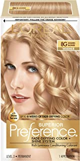 L'Oreal Paris Superior Preference Fade-Defying Color + Shine System, 8G Golden Blonde(Packaging May Vary) (Pack of 1)