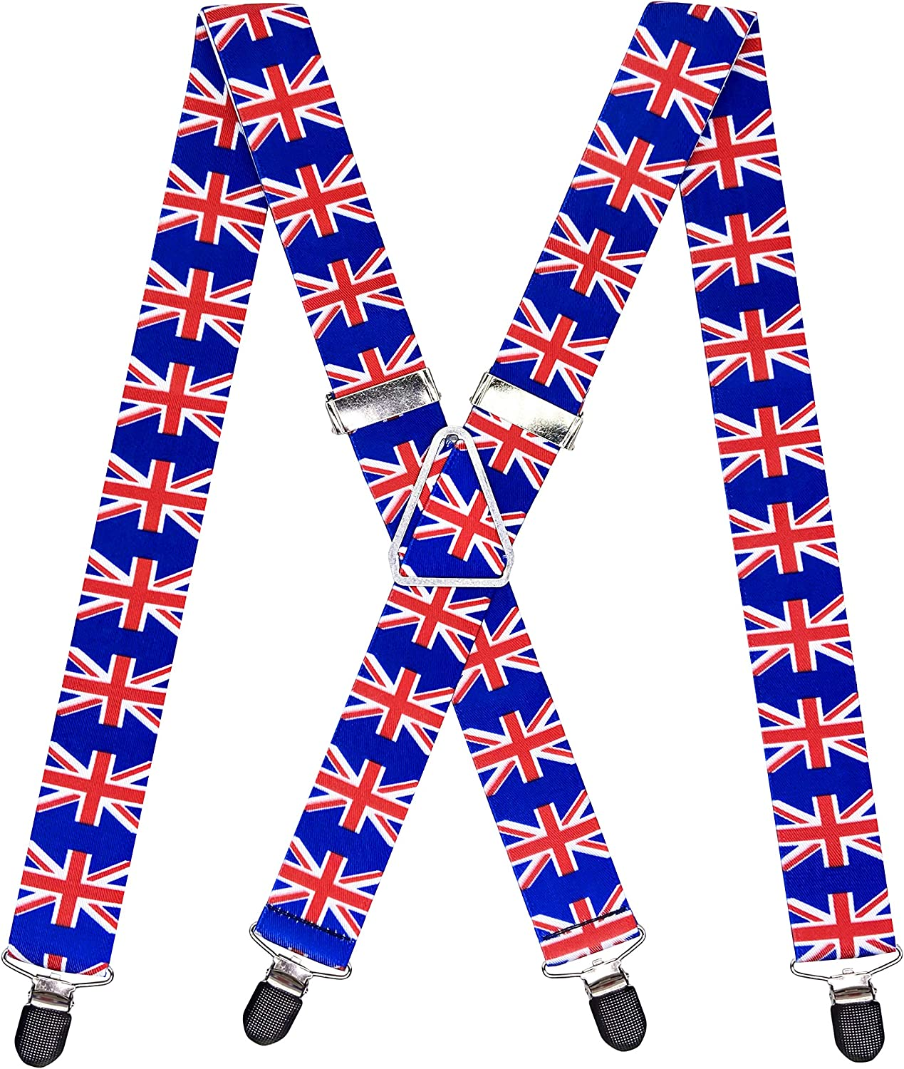 Mens X Back 4 Strong Clips British Flag Suspenders 1.4 In Width Heavy Duty Brace