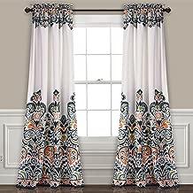 Lush Decor Clara Curtains Paisley Damask Print Bohemian Style Room Darkening Window Panel Set for Living, Dining, Bedroom (Pair), 84