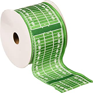 Homeford FJT0000X53794017 Football Field Polyester Ribbon Wired Edge, 2-1/2-Inch, Green