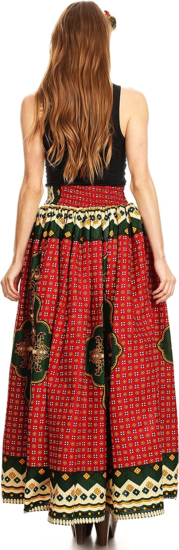 Sakkas Asma Convertible Traditionelle Wachsdruck verstellbaren Riemen Maxirock   Kleid 508-redgreen