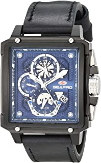 Seapro Men's Dual Timer Stainless Steel Quartz Leather Strap, Black, 22 Casual Watch (Model: SP0115)