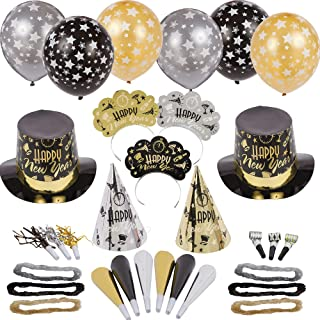 Amscan Black Tie Affair New Year's Party Kit for 50, Includes Top Hats, Cone Hats and Tiaras