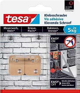 tesa Klevende Schroef Rechthoekig voor Steen & Baksteen 5kg, 2 stuks, wit