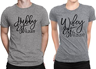Hubby est Wifey est Wedding Date Couple Matching T-Shirt Honeymoon Valentines Day