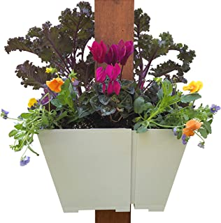 Adjustable Hanging Planter: Modern, Space Saving Square Container for Flowers and Herbs. Design Outdoor Vertical Gardens on Porch Posts, Patios, Pergolas and More.