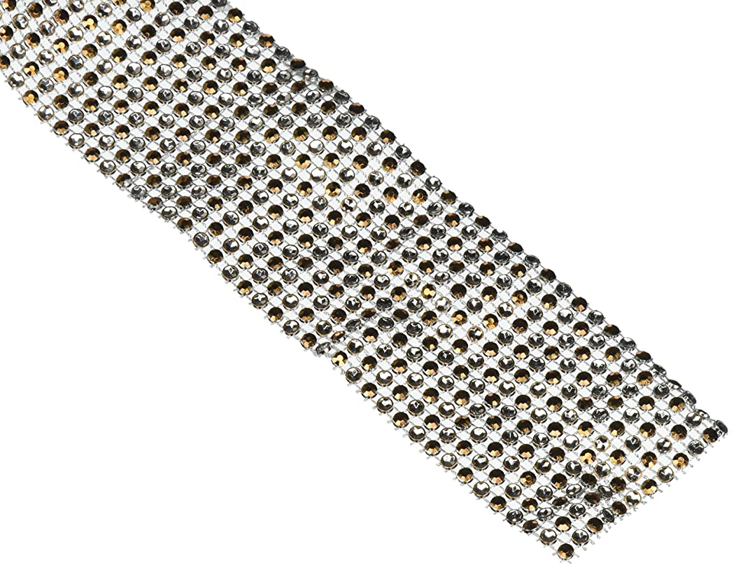 Homeford Firefly Imports Two Tone Rhinestone Diamond Wrap Ribbon, 2-1/2-Inch, 10 Yards, Copper Brown, 2-1/2