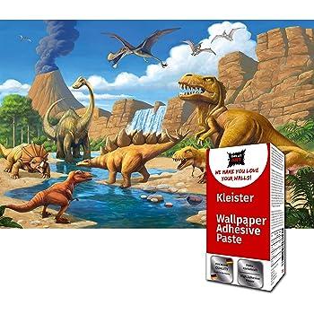 GREAT ART Foto Mural de Mundo Dinosaurio Infantil 336 x 238 cm Papel Pintado 8 Piezas incluye Pasta para pegar