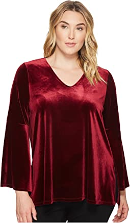 Karen Kane Plus - Plus Size Velvet Bell Sleeve V-Neck Top