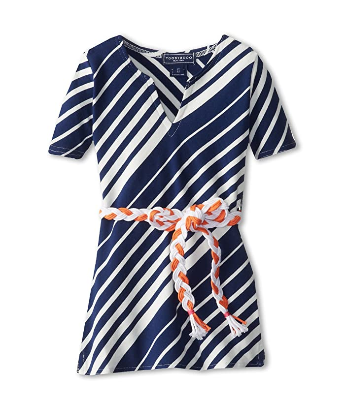Toobydoo  Stripe Beach Cover Up with Orange Belt (Toddler/Little Kids/Big Kids) (Navy) Girls Swimwear